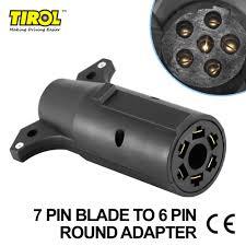 tirol 7 pin blade to 6 pin round trailer adapter trailer light