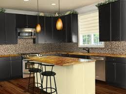 white backsplash with black kitchen cabinets design ideas for