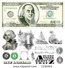 clipart of a one hundred dollar bill and benjamin franklin