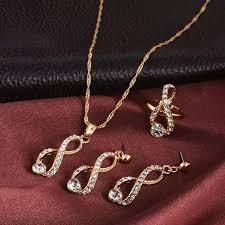 luxury gold necklace images Elegant design wedding infinity love crystal rhinestone necklace jpg