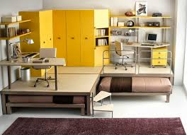 Desk With Pull Out Table Bedroom Pull Out Beds Under Cornered Work Desk And Yellow Cabinet