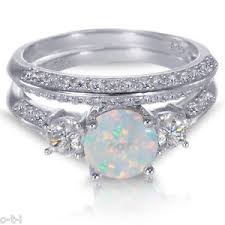 opal wedding ring white gold sterling silver cut white opal wedding