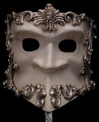 silver mask bauta baroque white and silver stick mask venetian mask society