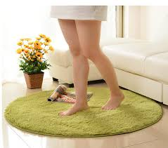 Plush Floor Rugs 100 100 Pure Colour Soft Round Shaggy Mat Doorsill Floor Plush
