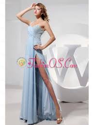 light blue one shoulder and high slit prom dress with beading 149 69