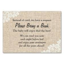 baby shower instead of a card bring a book burlap and lace bring a book instead of a card insert card baby