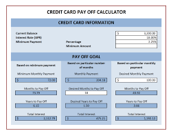 Credit Card Payment Spreadsheet Template credit card payoff calculator excel templates