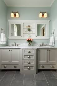 Sherwin Williams Sea Salt Bathroom Bathroom Cabinet Paint With Beach Style Countertop Cabinet