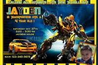 personalized photo transformers birthday invitations