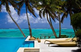 beach paradise pacific ocean breeze sky relaxation palm trees