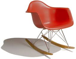 Red Rocking Chairs Eames Molded Plastic Armchair With Rocker Base Hivemodern Com