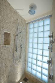 glass block bathroom ideas decoration ideas fixed chrome shower with blue