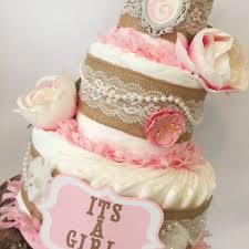 shabby chic vintage style boutique diaper cake in burlap and pink