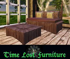 second life marketplace wooden rustic daybed set blush