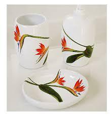Porcelain Bathroom Accessories Sets Bird Of Paradise Painted Porcelain Bath Set Jpg