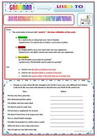 14 free esl past tense used to worksheets for proficient c2 level