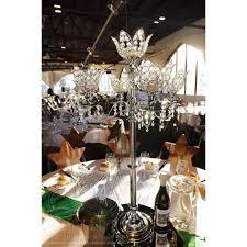 Cheap Candelabra Centerpieces Wedding Acrylic Crystal Magnolia Flower Candelabra 5 Arms With