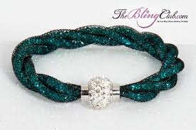 mesh bracelet swarovski images Gorgeous rich teal twist bling crystal magnetic bracelet jpg
