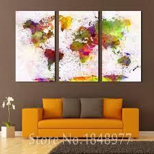 d oration chambre peinture 3 pièce grand moderne accueil deoration abstraite carte du monde