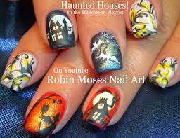 robin moses nail art haunted house nail art