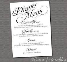 diy wedding menu cards printable menu card diy wedding reception dinner menu black