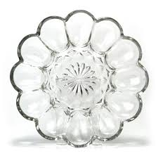glass egg plate anchor hocking fairfield clear glass deviled egg plate