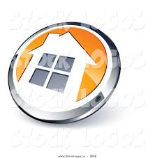 best home logo vector logo of a 3d shiny round chrome and orange home button by
