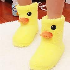 cute big yellow duck warm plush slippers indoor boots women u0027s tall