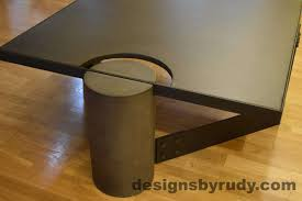 Concrete Side Table Charcoal Concrete Coffee Table Black Powder Coated Steel Frame