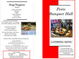 banquet halls prices banquet event catering menu by potts deli and grille