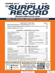 october 2015 surplus record machinery u0026 equipment directory