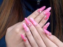 long nails acrylic nails pink glitter heart gel nails