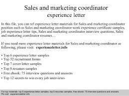 Marketing Coordinator Resume Sample by Sales And Marketing Coordinator Experience Letter 1 638 Jpg Cb U003d1408704655