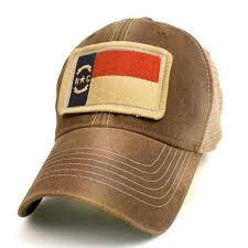 north carolina flag patch trucker hat brown