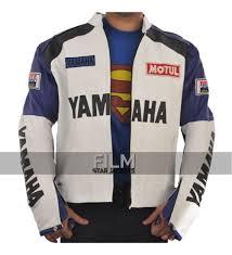 white motorcycle jacket white and blue yamaha motorcycle jacket