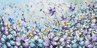 light blue flowers giclee print abstract painting purple blue flowers poppies