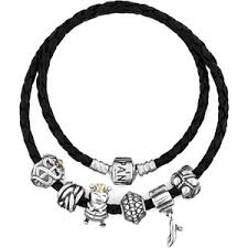 leather bracelet with silver charm images Pandora bracelet black leather with sterling silver charms out=j