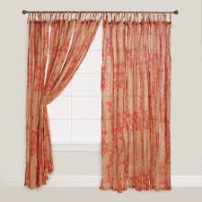 coral bamboo print tie top crinkle voile curtains set of 2