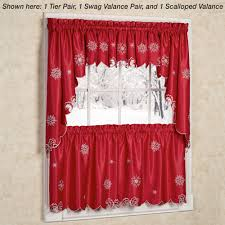 kitchen curtains at walmart kitchen metallic snowflake snow holiday tier walmart kitchen