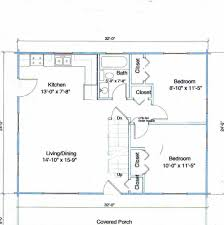 24 x 32 2 bedroom house plans