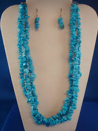 turquoise blue stone necklace images Turquoise sky blue tone set of necklace earrings three jpg