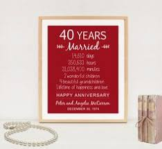 40th anniversary gifts for parents ruby 4oth anniversary gift personalized by printsbychristine