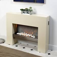 creme free standing wall mounted electric fire mdf surround