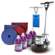 floor scrubbing cleaning package with a 17 floor buffer machine