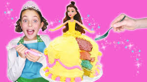 how to make princess belle rainbow dress cake beauty and the
