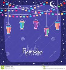 greeting card with arabic lantern for ramadan kareem celebration