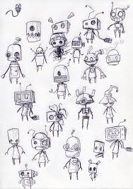 drawn robot cute pencil and in color drawn robot cute