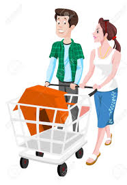 couple buying a house in a shopping cart vector illustration