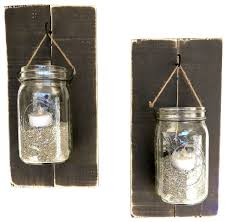 Farmhouse Wall Sconce Reclaimed Wood Mason Jar Sconces Set Of 2 Farmhouse Wall
