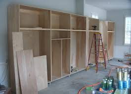 unfinished custom diy homemade wood garage storage cabinet for